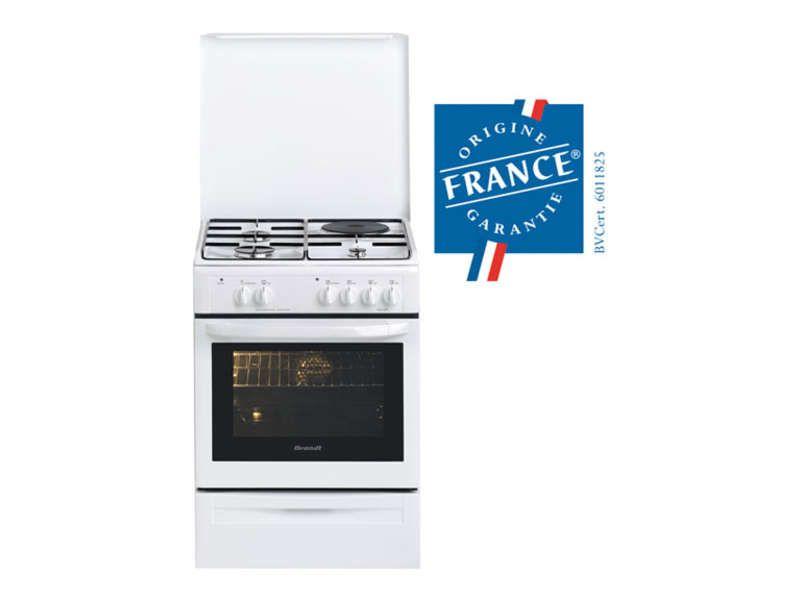 Cuisinière mixte 3+1 60 cm coloris blanc BRANDT KMP1000W prix ...