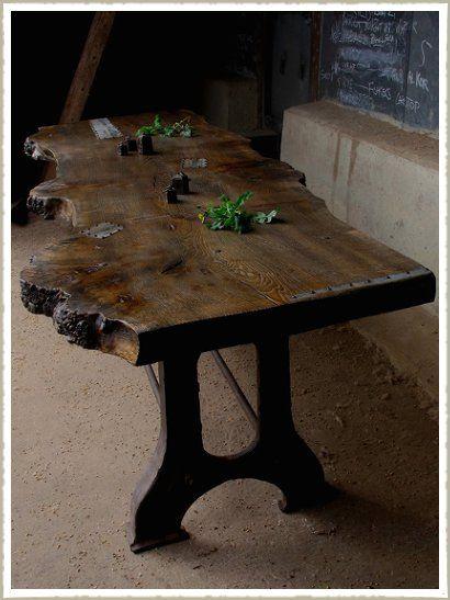 Oak Slab Table kitchen Pinterest