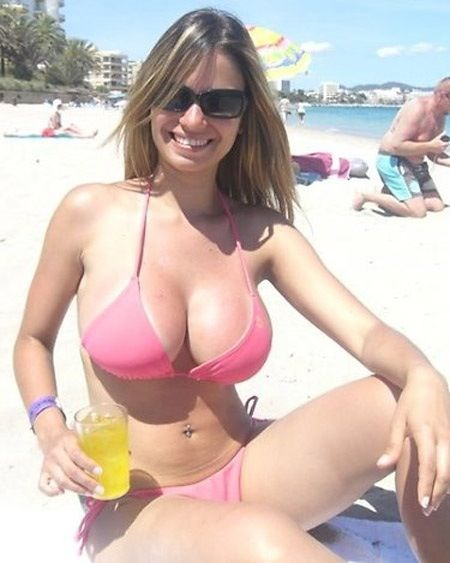 Big boobs beach pink bikini