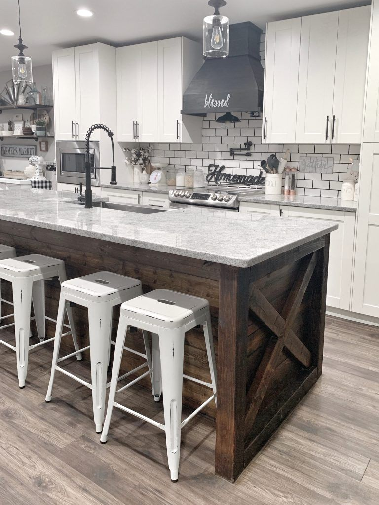 modern farmhouse style neutral kitchen subway tile wood range hood large island coffee bar home decor tour