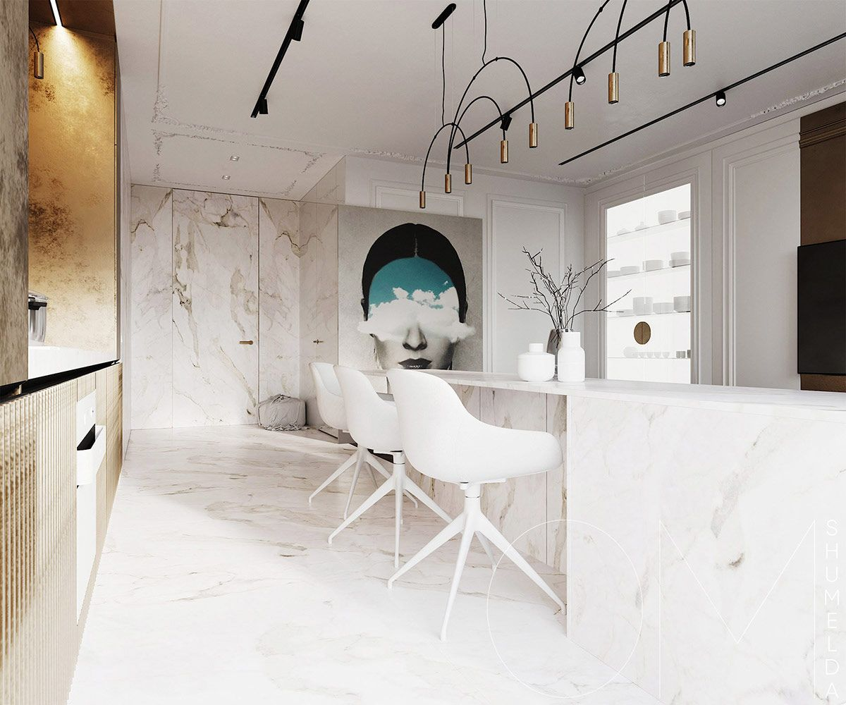 3 Luxe Home Interiors With White Marble Gold Accents Grey