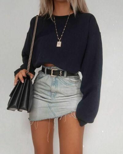 Spin – jean skirt knee length denim skirt going out cropped sweatshirt and mini … – Spring Outfit
