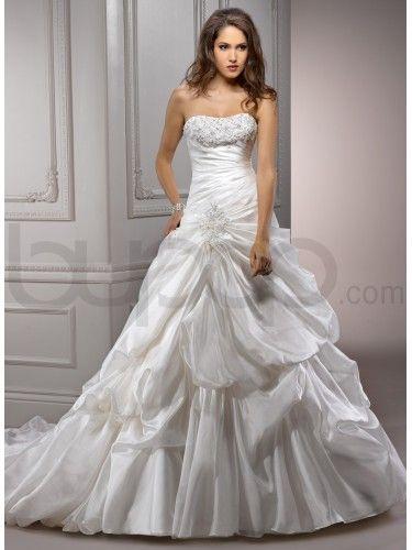 Vicenza Organza Soft Curved Neckline A-line Wedding Dress