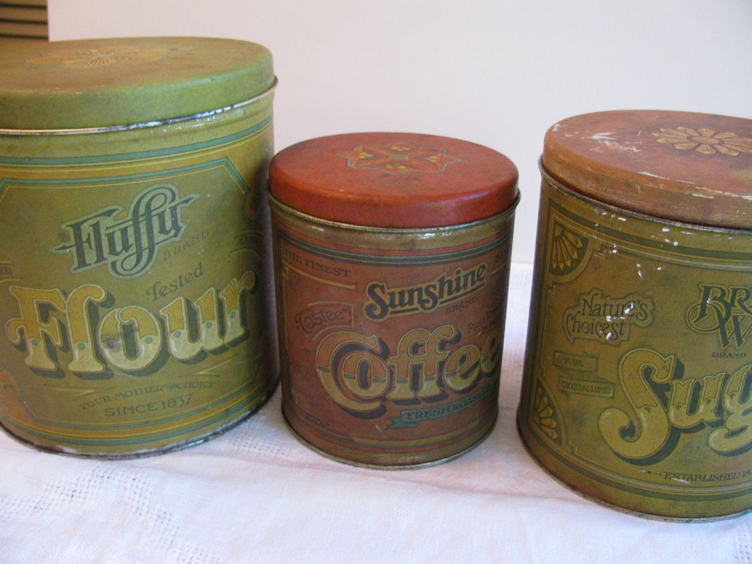 vintage 3 tin kitchen canister set fluffy flour advertising vintage 3 tin kitchen canister set fluffy flour advertising