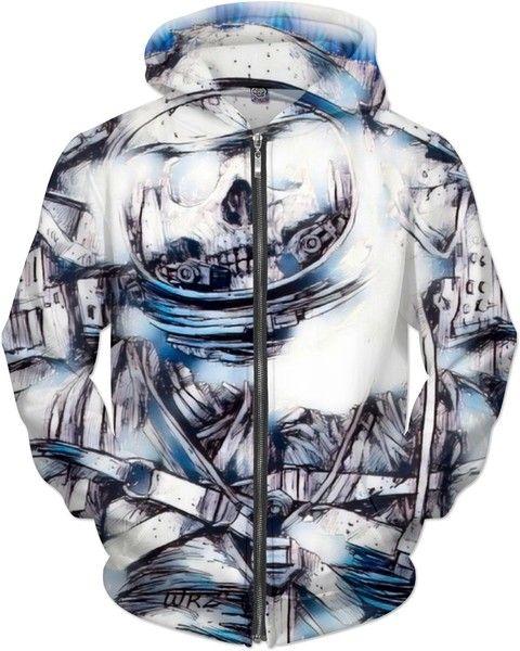 Most Popular Distressed Space Man Gouache Fantasy Art Custom Style Zip Hoodie by Willy Badu.