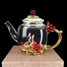 Enamel Glass Flower Tea Pot #teapotset