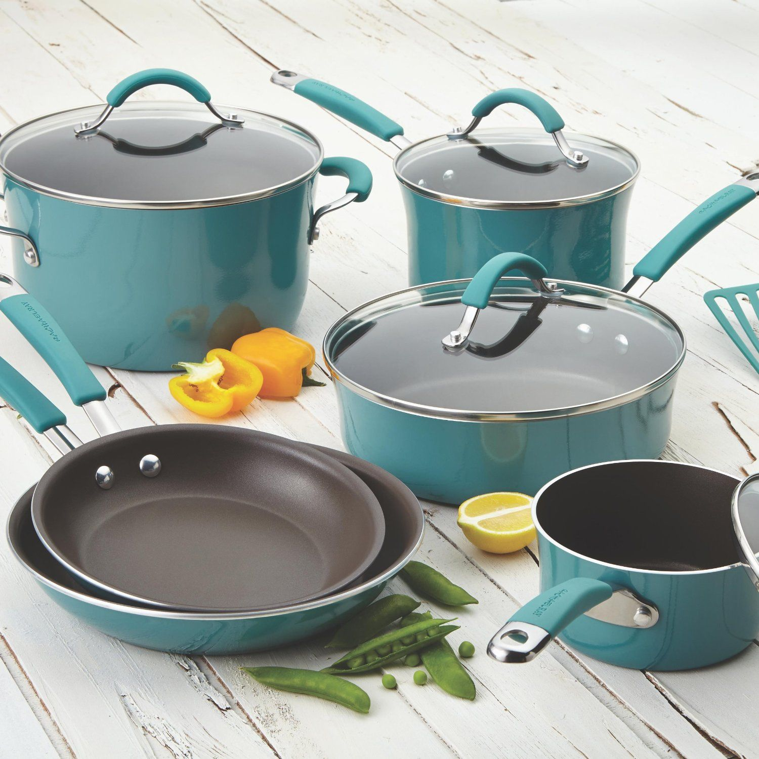 Rachael Ray 12-Piece Cookware Set in Agave Blue (2) | Cookware set ...