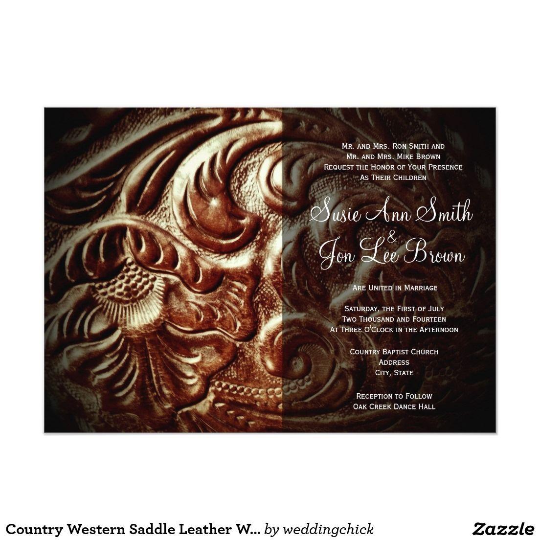 Country Western Saddle Leather Design Wedding Invitations