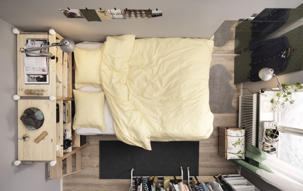 Small Bedroom For Two With A Platform Bed And Lots Of Storage Prepossessing Storage Solutions For A Small Bedroom Review