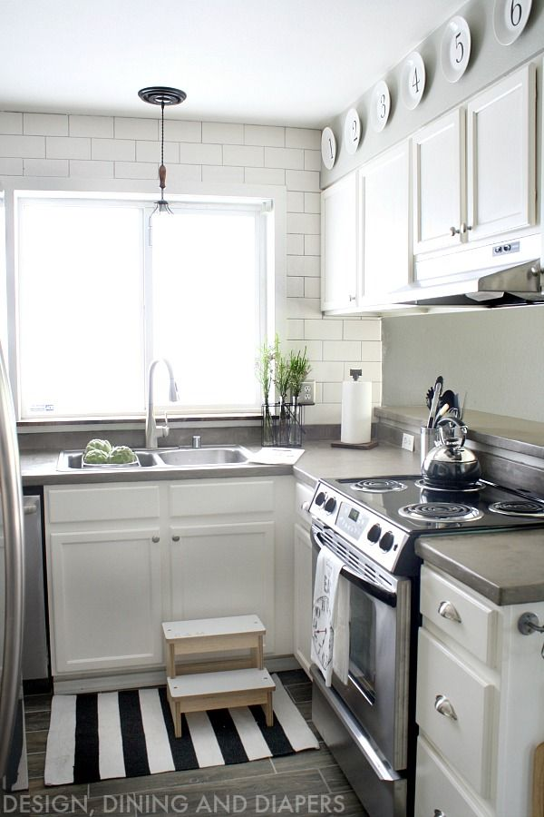 white kitchen makeover with modern farmhouse design great before and after pics of what you can do with a small space - Small Kitchen Remodel Before And After