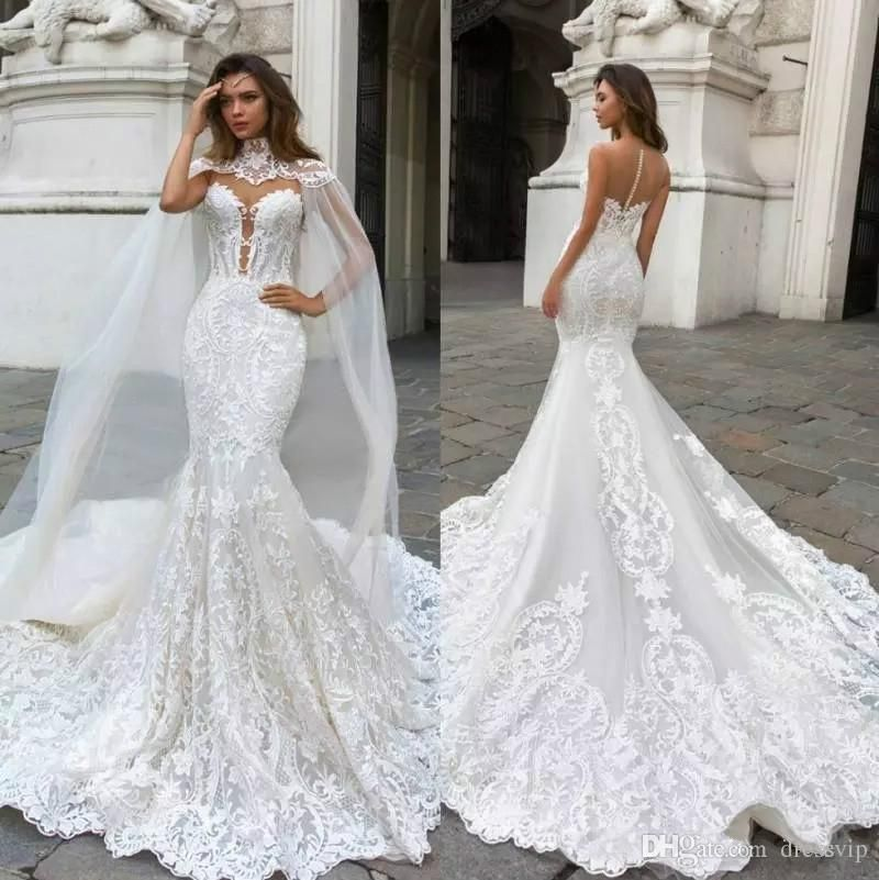 Mermaid Lace Wedding Dresses With Cape
