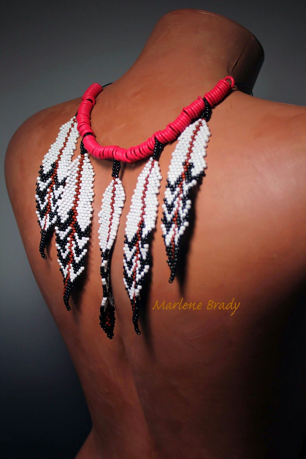 Handmade embroidered black Jewelry set Massive beaded necklace earrings bracelet with eagle