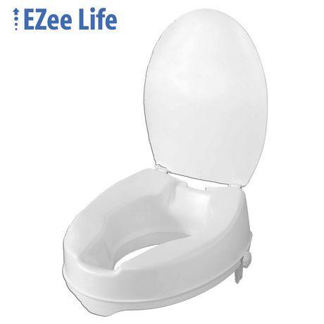 Ezee Life Raised Toilet Seat With Lid White 4in H Toilet Walmart