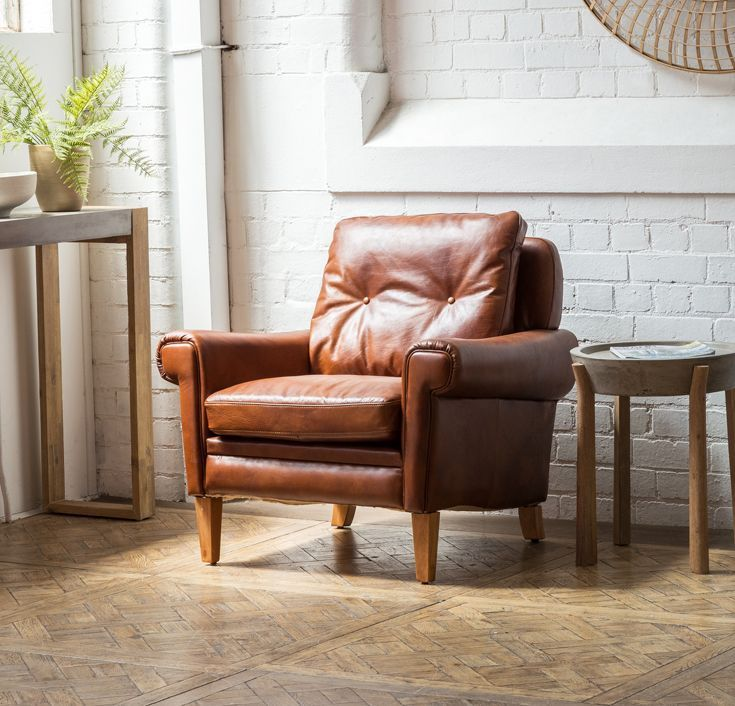 Rona Leather Armchair in Sienna Brown | Retro armchair ...