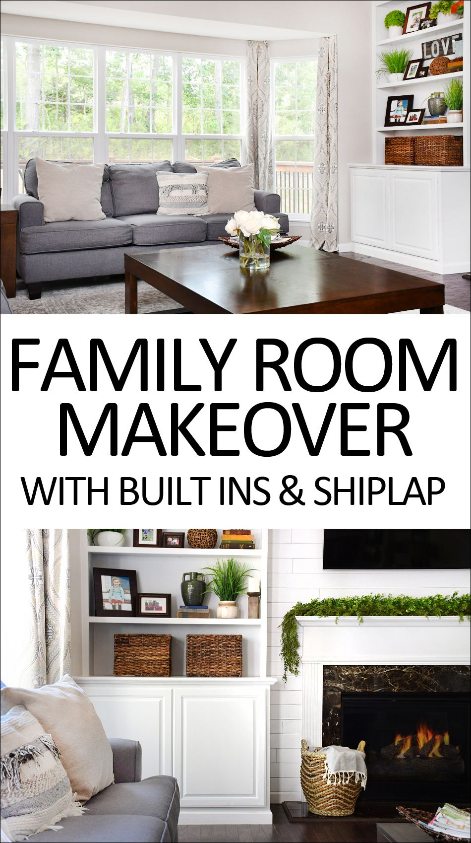 Family Room Makeover with White Built Ins and Charcoal Couches ...