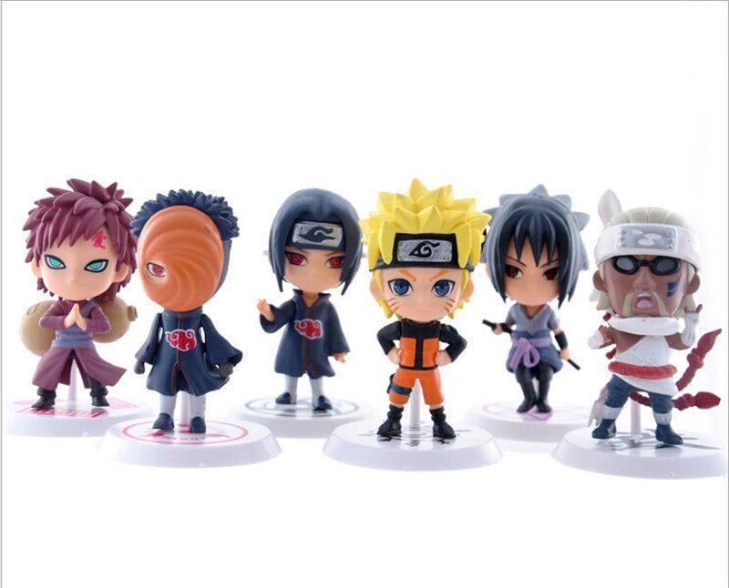 6PCS Naruto Shippuden Figure Doll Toy gaara//uchiha sasuke//uchiha itachi