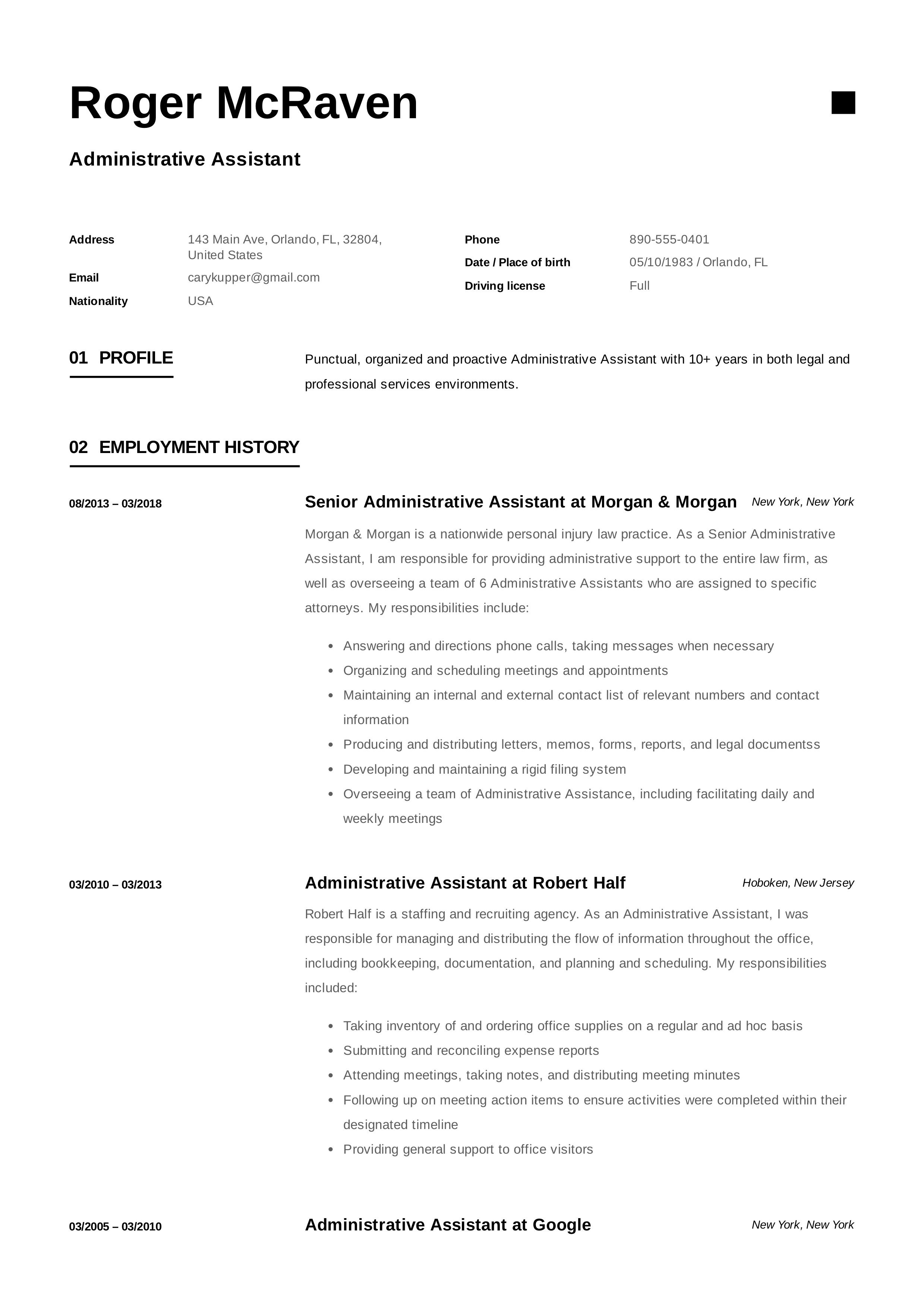 Free Administrative Assistant Resume Sample Template Example CV Formal Design
