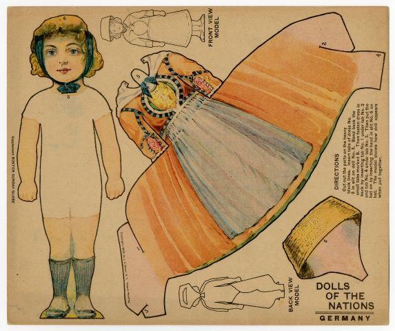 American paper doll, Dolls of the Nations: Germany, by J.V. Sloan|Boston Sunday Globe, circa 1909.