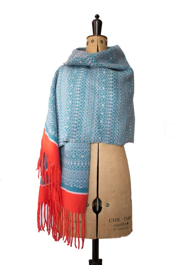 8bd1732f2aed9 Knitted Wrap, Blanket scarf, knitted shawl, Fair Isle shawl, wool ...