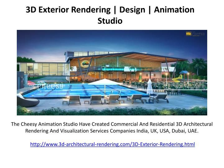 The Cheesy Animation Studio Have Created Commercial And Residential 3D Architectural Rendering And Visualization Services Companies India, UK, USA, Dubai, UAE.\nhttp://www.3d-architectural-rendering.com/3D-Exterior-Rendering.html\n