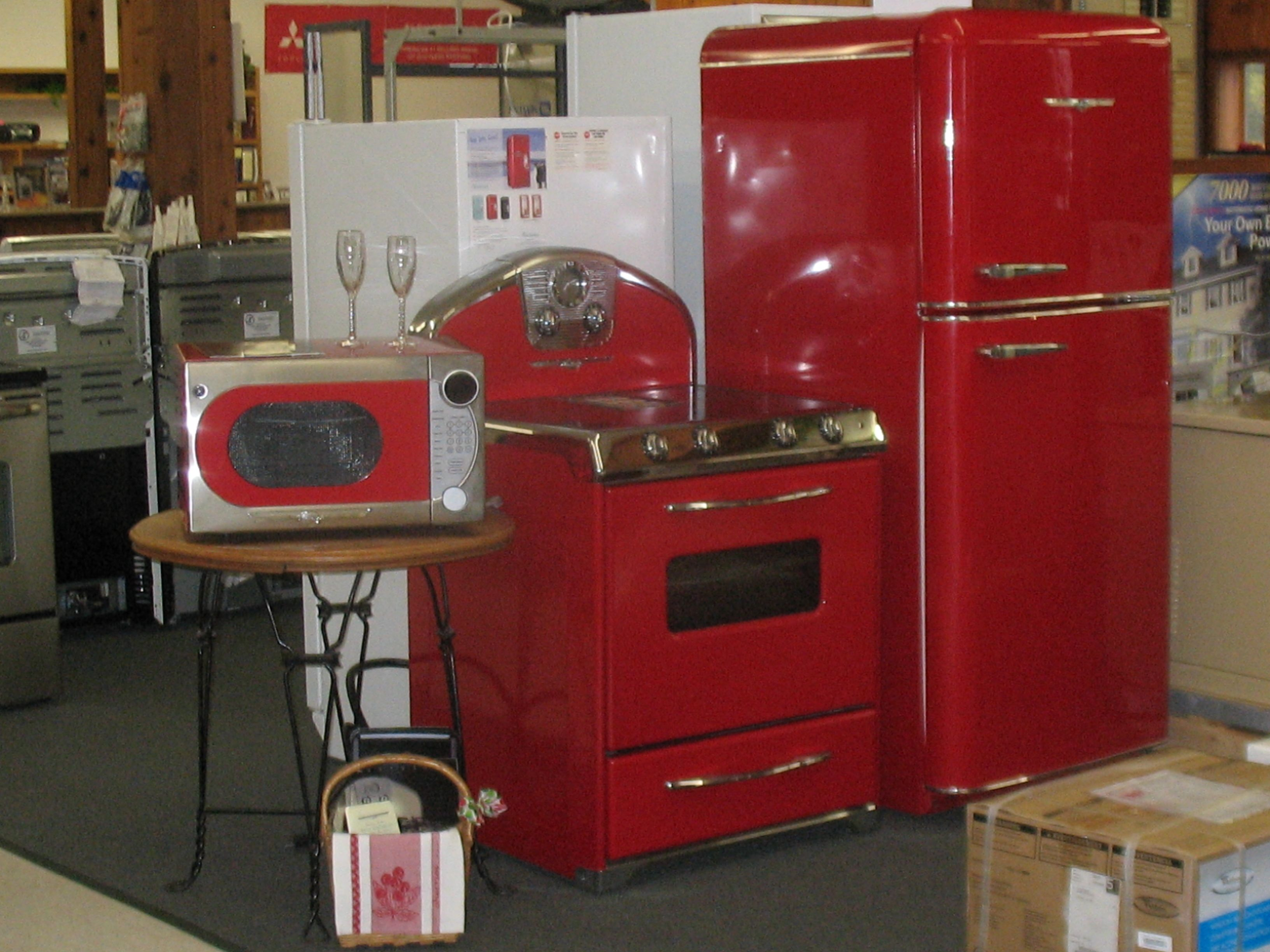 Retro Kitchen Stoves Trash Cans 1950s Styled Appliances With All The Modern