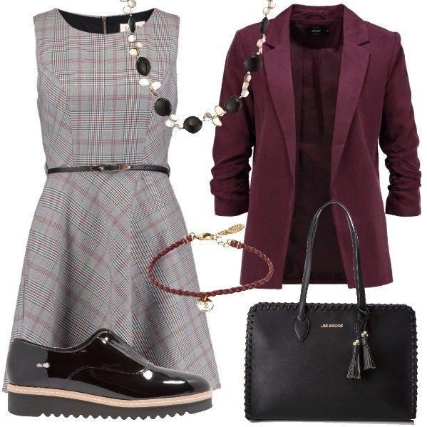 bene fuori x negozio più venduto Cheaper Vestito svasato e smanicato, bicolore a scacchi grigio e rosso con ...