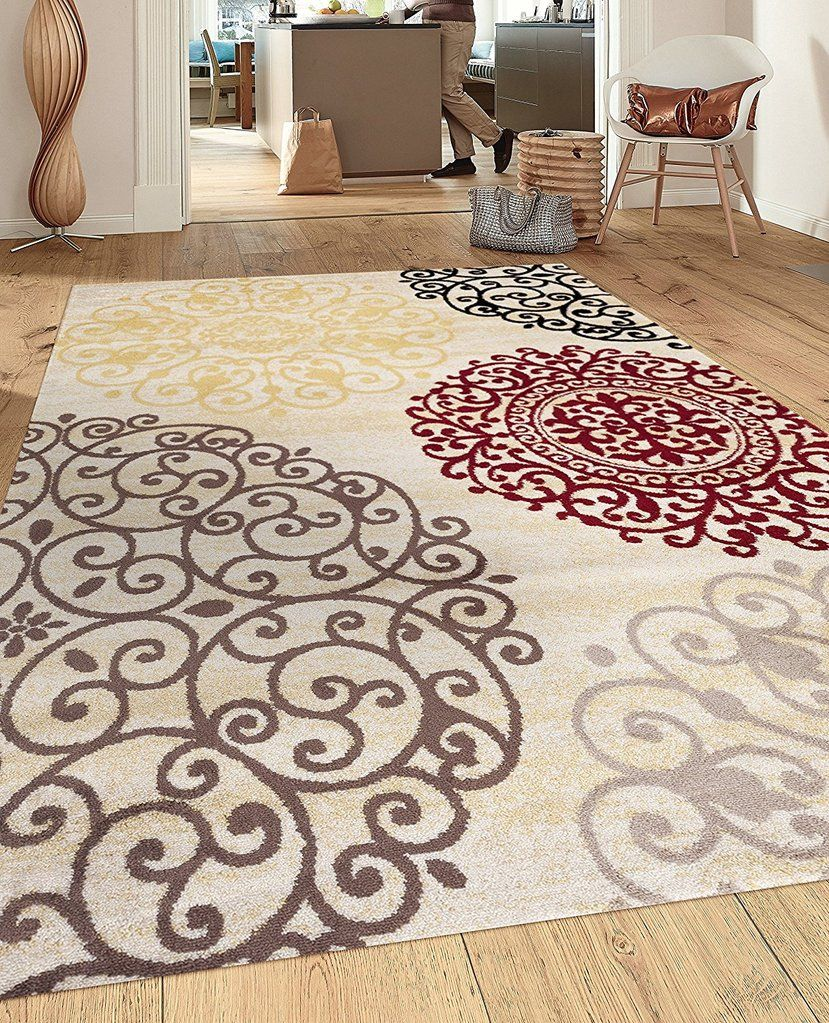 Floral Cream Brown Red Area Rugs In 2019 Home Decor Rugs Area