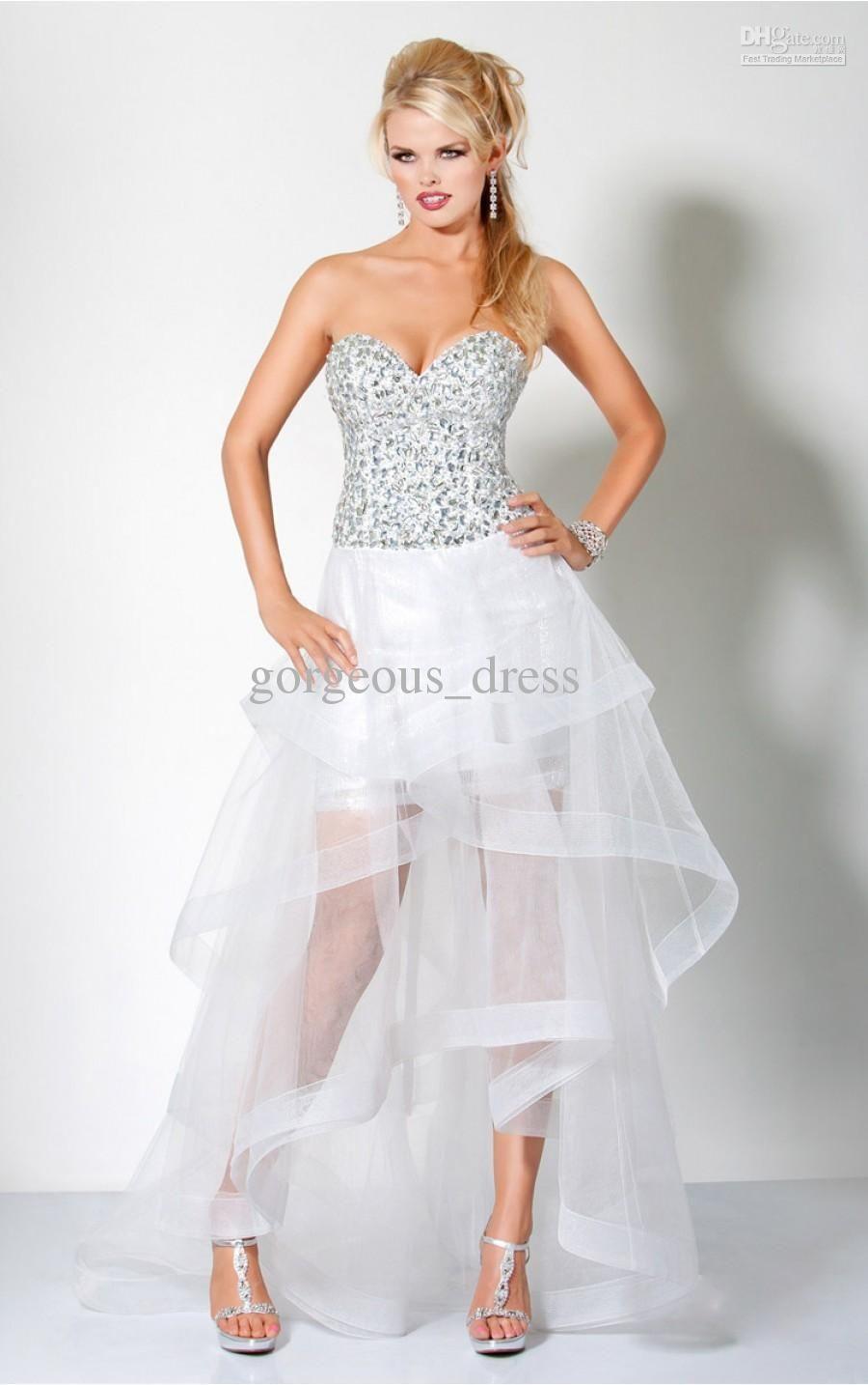 White Rhinestone Prom Dresses