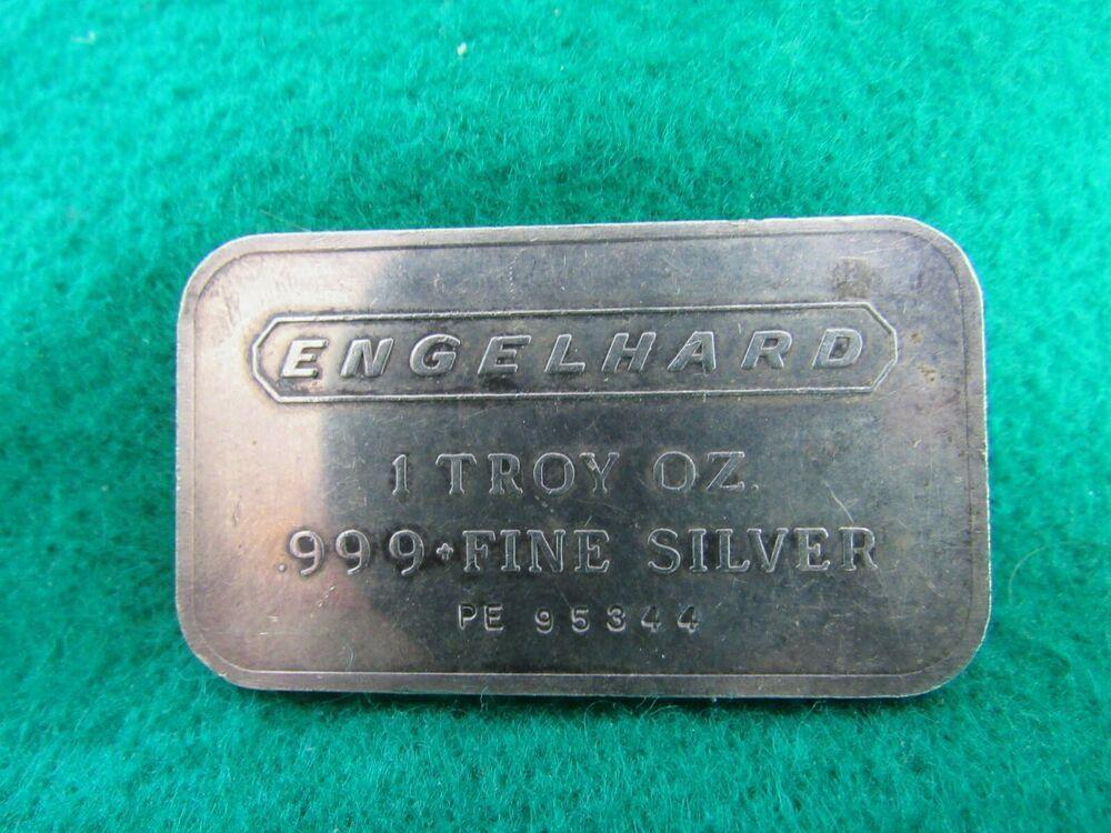 Vintage Engelhard 1 Troy Oz 999 Silver Bar W Serial Number Pe 95344 Silver Bars Silver Ebay