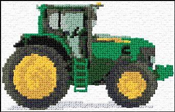 6066a5e4c463c John Deere Tractor   Cross stitch   Cross stitch, Cross stitch ...