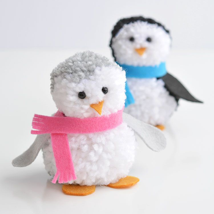 How to Make Pom Pom Penguins | A Cute and Easy Winter Craft Idea #penguincraft