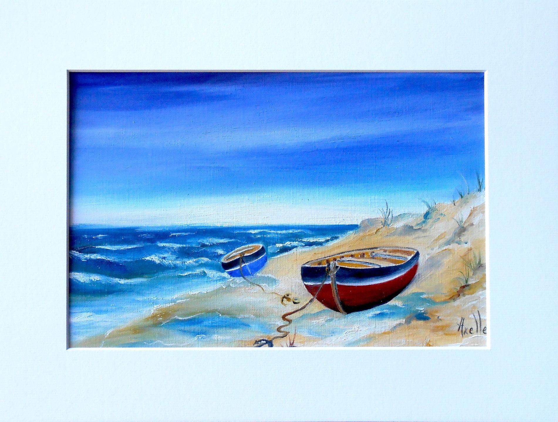 Tableau Bord De Mer Barques Sur La Plage Par Peintures Axelle