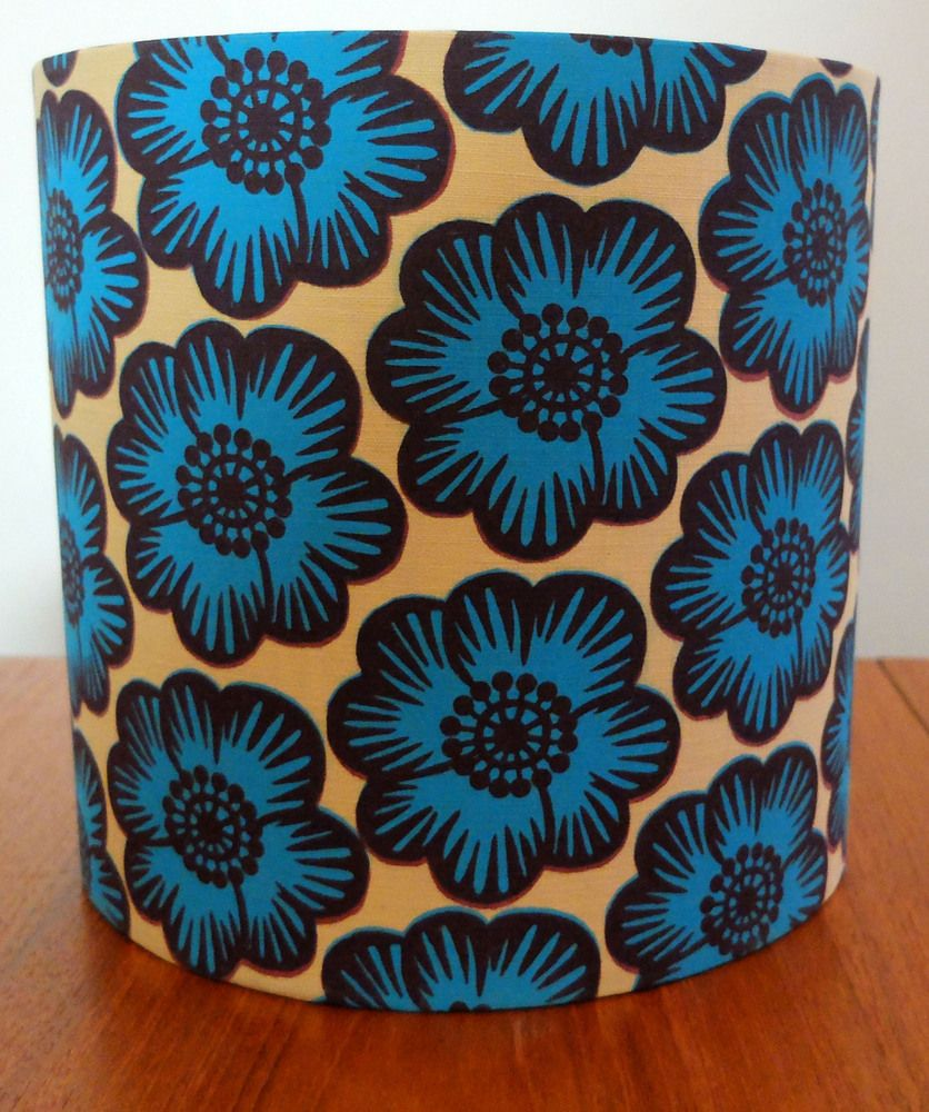 Blue Poppies Drum Shade From Sue Owen Design Living Room