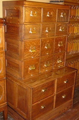 16 drawer quartered quarter sawn oak filing cabinet Yawman and ...