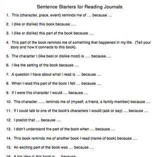 reflective journal entry sentence starters
