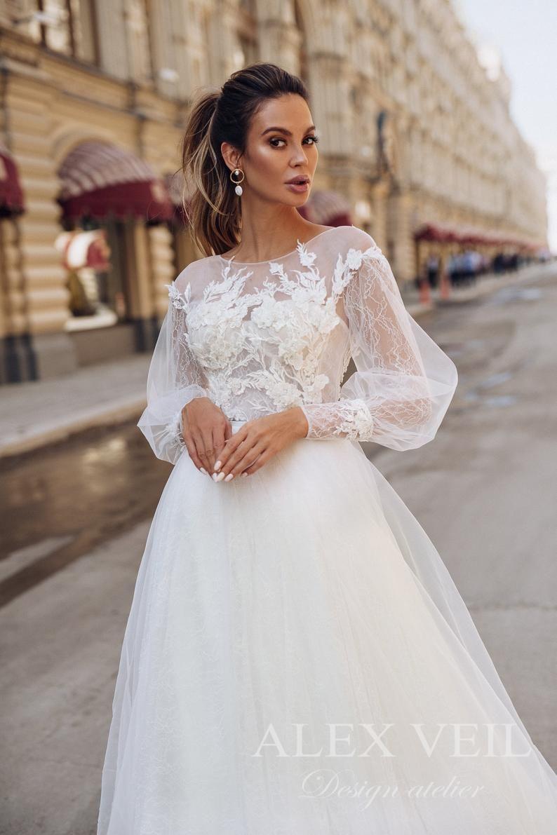 Wedding Dress Catalina Awesome Modest Wedding Etsy In 2020 Modest Wedding Dresses A Line Wedding Dress Wedding Dress Long Sleeve