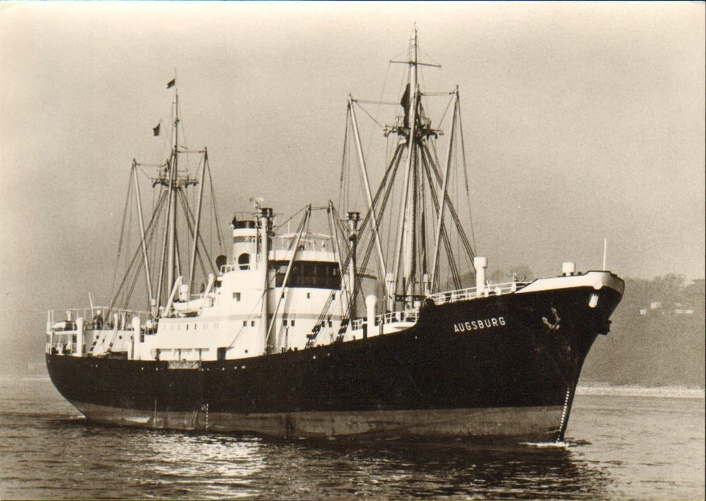 OLD POSTCARD SHIP BOAT MARITIME HAMBURG AMERIKA LINIE MS AUGSBURG 1950s PM 311