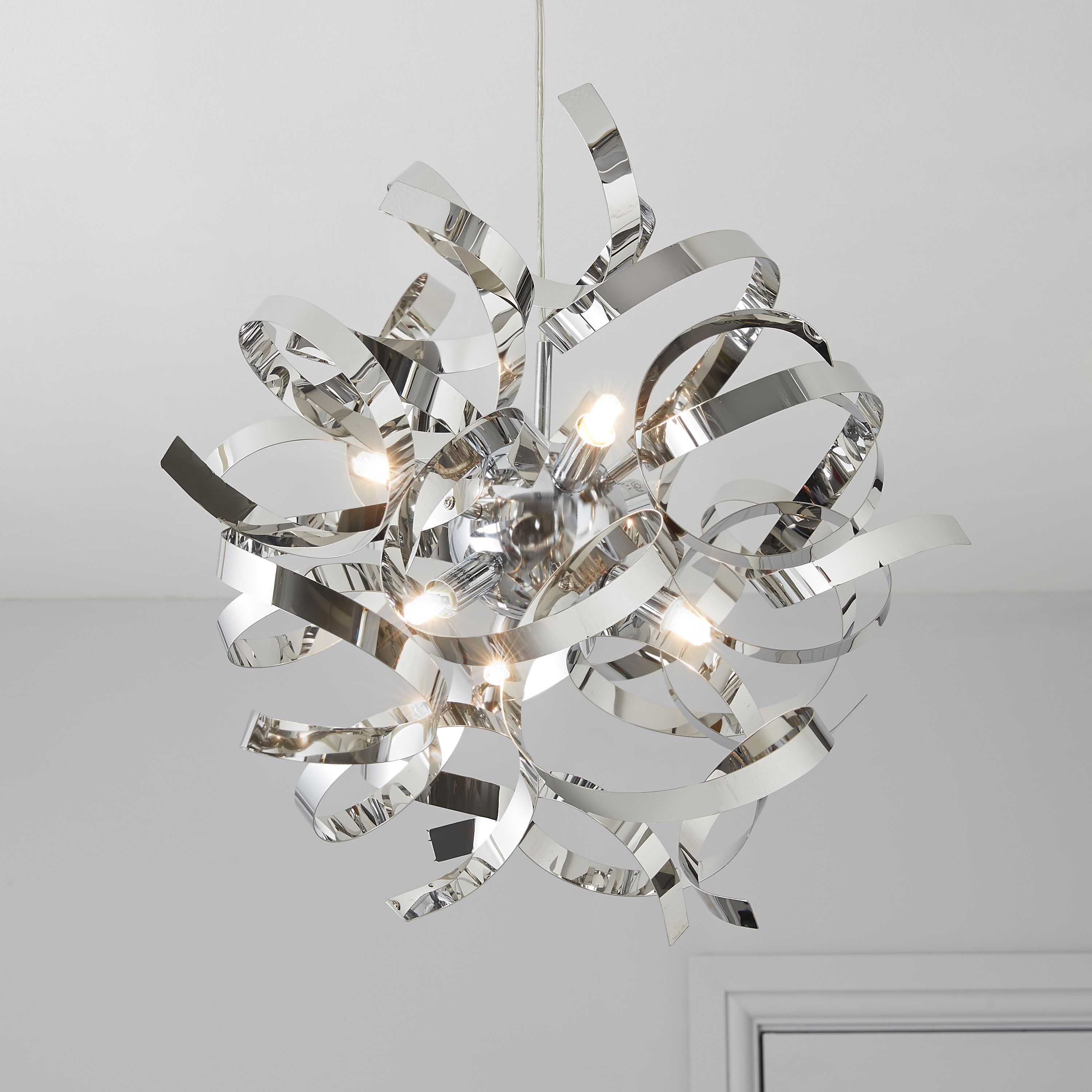 Heka Curled Silver Chrome Effect 6 Lamp Pendant Ceiling Light Departments Diy At B Q Ceiling Lights Ceiling Pendant Lights