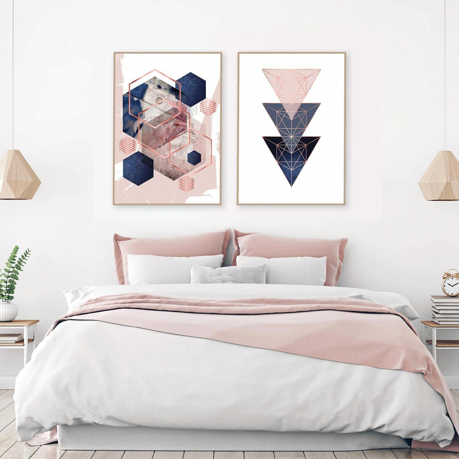 Set Of 2 Printable Blush Pink Navy Blue Rose Gold Geometric Art