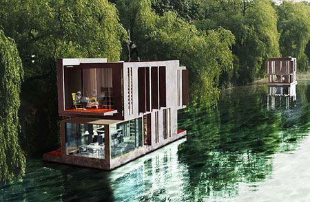design hausboote floating house pinterest hausboote designs und architektur. Black Bedroom Furniture Sets. Home Design Ideas