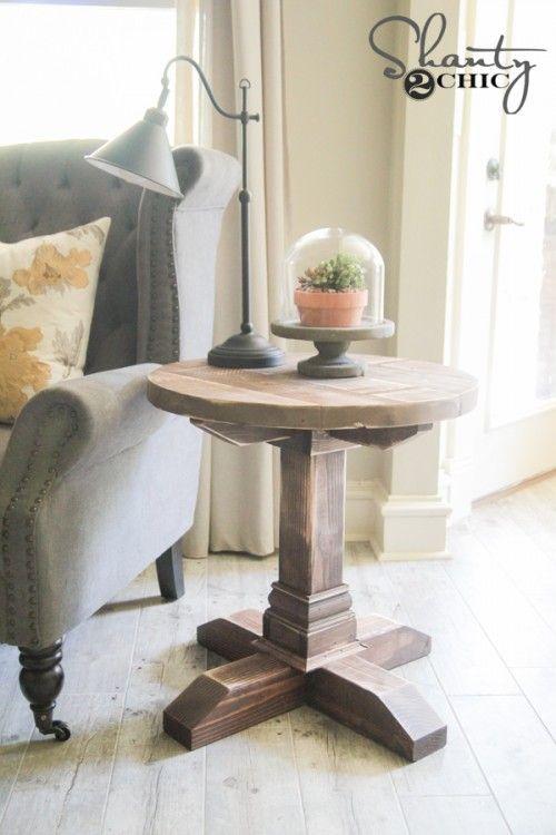 Diy Round Side Table Diy End Tables Wood Furniture Diy Diy