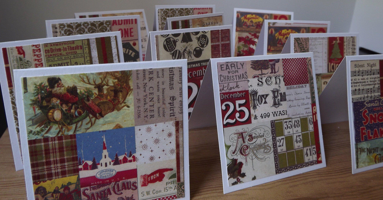 Christmas Mini Note Cards Blank Multiple Uses Dec 25 Vintage Pattern