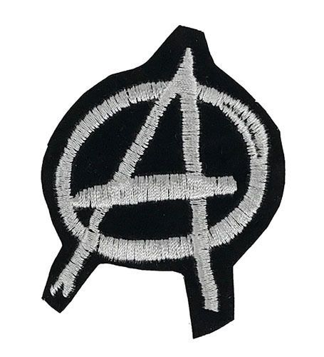 White Anarchy Symbol A Embroidered Patch 3 Iron On Punk Applique Anarchism Logo Embroidered Embroidered Patches Anarchy Symbol Applique