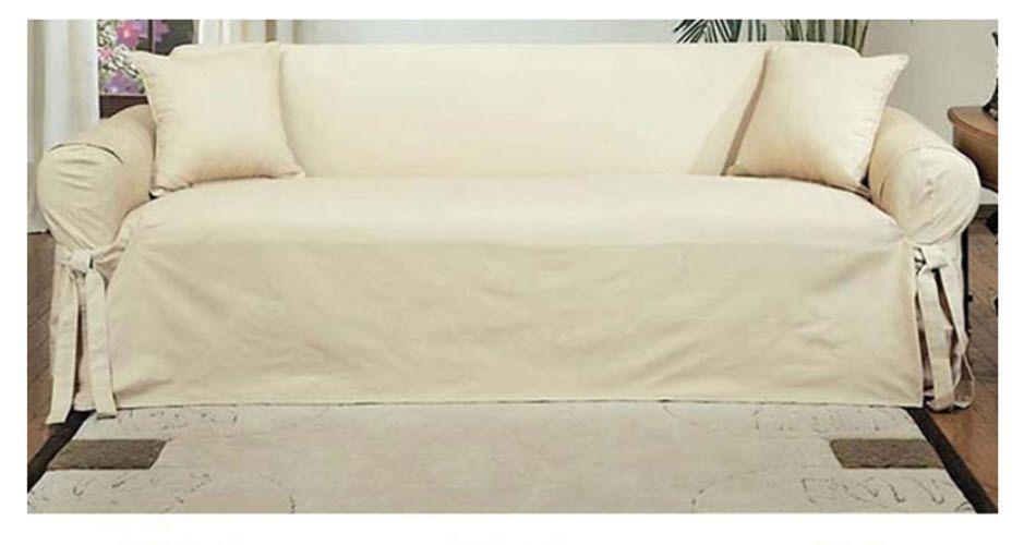 Chaise Sofa Cotton Sofa Slipcover Duck Machine Washable Loveseat Pet Kids Protection White CottoSofa Slipcover