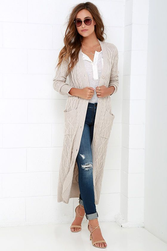 At Great Length Beige Long Cardigan Sweater at Lulus.com! | Style ...