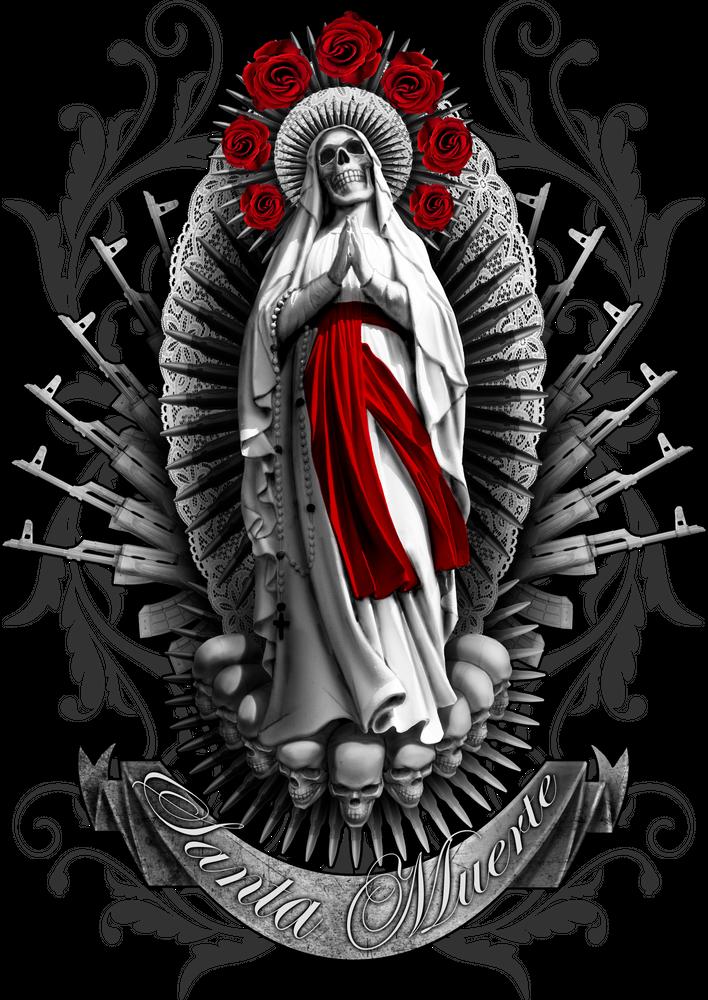 Santa Muerte 3 Graphic Hoodie By Ilia Syvorov Unisex Pullover Black Medium Front Print P Mexican Art Tattoos Chicano Tattoos Sleeve Chicano Art Tattoos