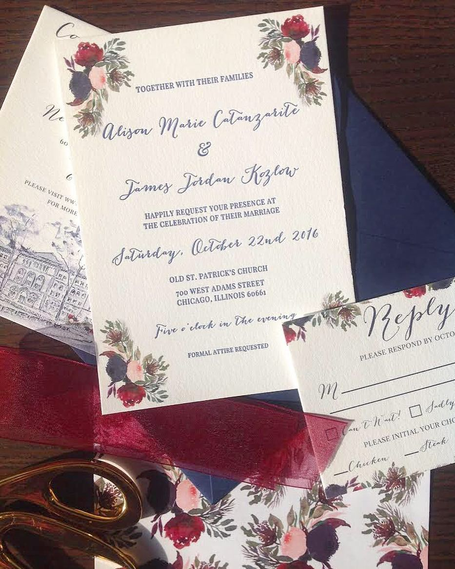 Watercolor and floral letterpress wedding invitations wedding