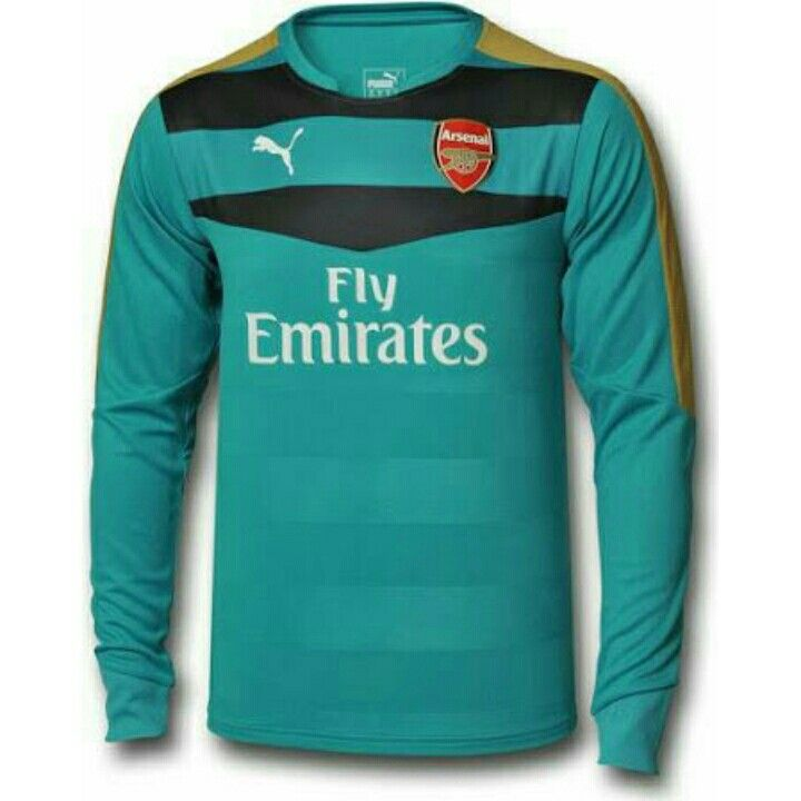 The new Arsenal 15-16 Goalkeeper Kit is dark gray with golden and white  details 324a2bc99