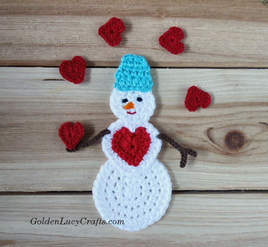 Crochet Snowman Snowman Applique Snowman Ornament Free Crochet Pattern Crochet Christmas Trees Pattern Crochet Snowman Christmas Crochet Patterns