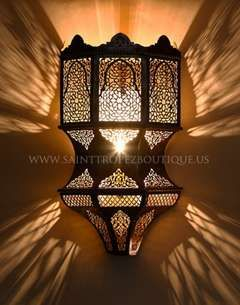 Modern Style Moorish Wall Sconce Handmade In Morocco From Solid